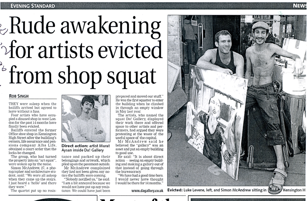 DA001 The Evening Standard article Rude awakening for artists evicted form shop squat (2006)
